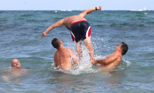 a man jumping into water in Barcelona, Catalonia, Spain, Europe, August 2013, picture 69