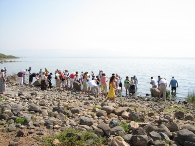 Cristian pilgrims at the Galilean Sea (Lake) in Israel (where Jesus Christ preached), picture 17