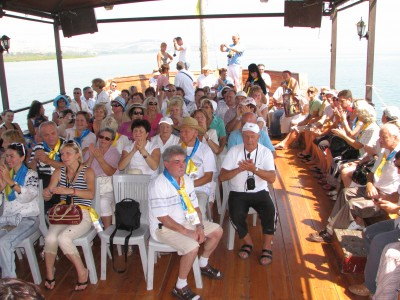 Christian pilgrims on a boat at the Galilean Sea (Lake) in Israel (where Jesus Christ preached), picture 15