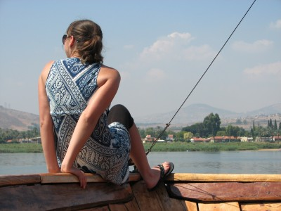 A girl on a boat at the Galilean Sea (Lake) in Israel (where Jesus Christ preached), picture 3