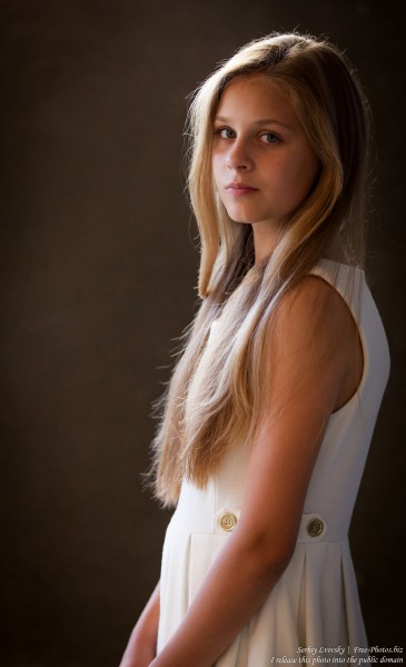 a 12-year-old blond girl wearing a white dress photographed in July 2015 by Serhiy Lvivsky, picture 4