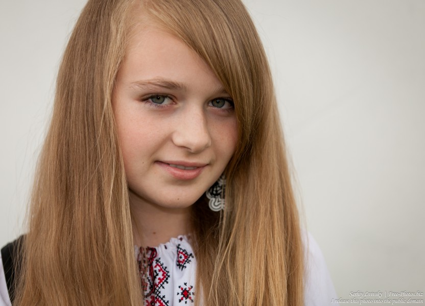 a blond 13-year-old girl photographed in June 2015, picture 19