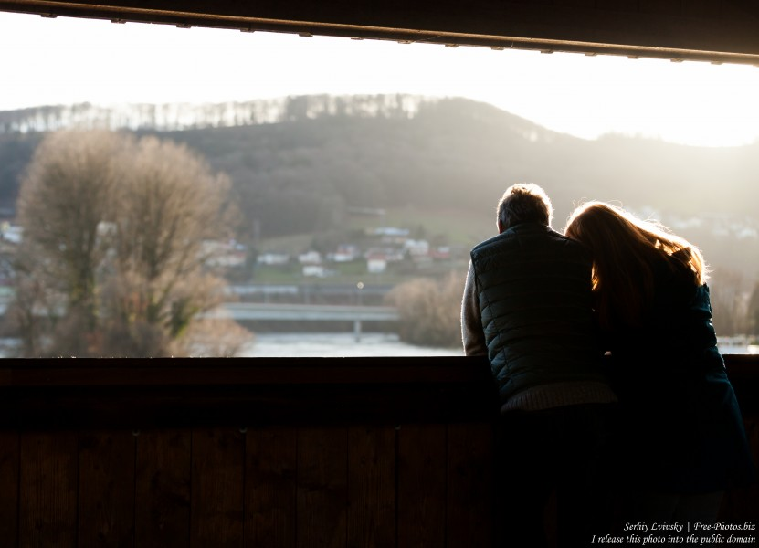 a couple at a bridge over Rhine connecting Germany and Switzerland, photographed in December 2017 by Serhiy Lvivsky