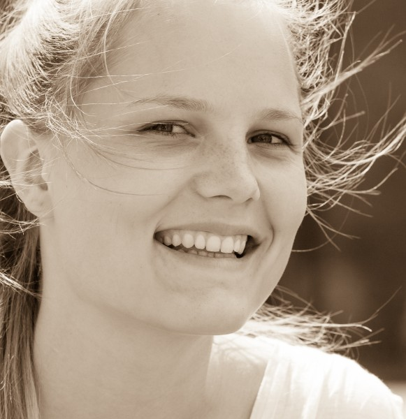 a cute fair-haired girl in Copenhagen, Denmark, in June 2014, picture 22, black and white