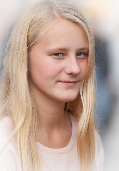 a cute blond girl photographed in October 2014, picture 29