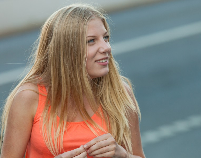 a cute blond girl photographed in Stockholm, Sweden in June 2014, picture 7/26
