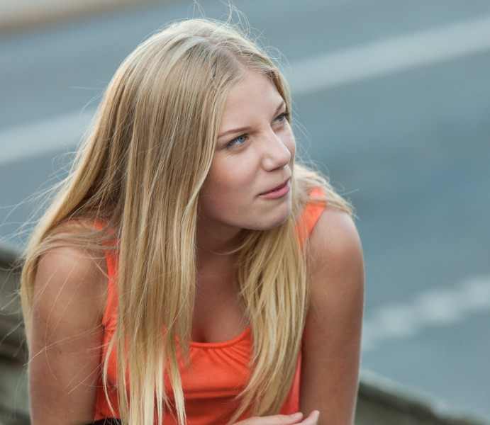 a cute blond girl photographed in Stockholm, Sweden in June 2014, picture 8/26