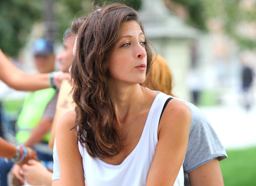 a pretty brunette girl photographed in Italy in August 2013