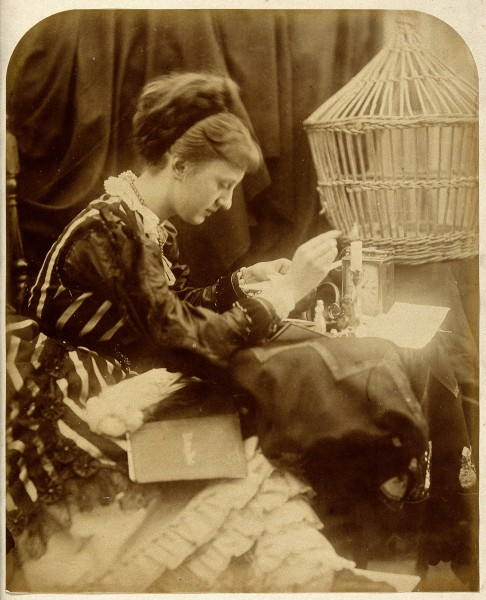a woman reading a letter. Photograph by Julia Margaret Cameron Wellcome V0027590