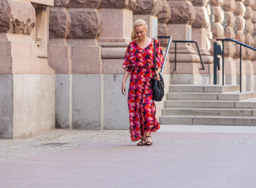 a young pretty blond woman photographed in Stockholm, Sweden in June 2014, picture 1/8