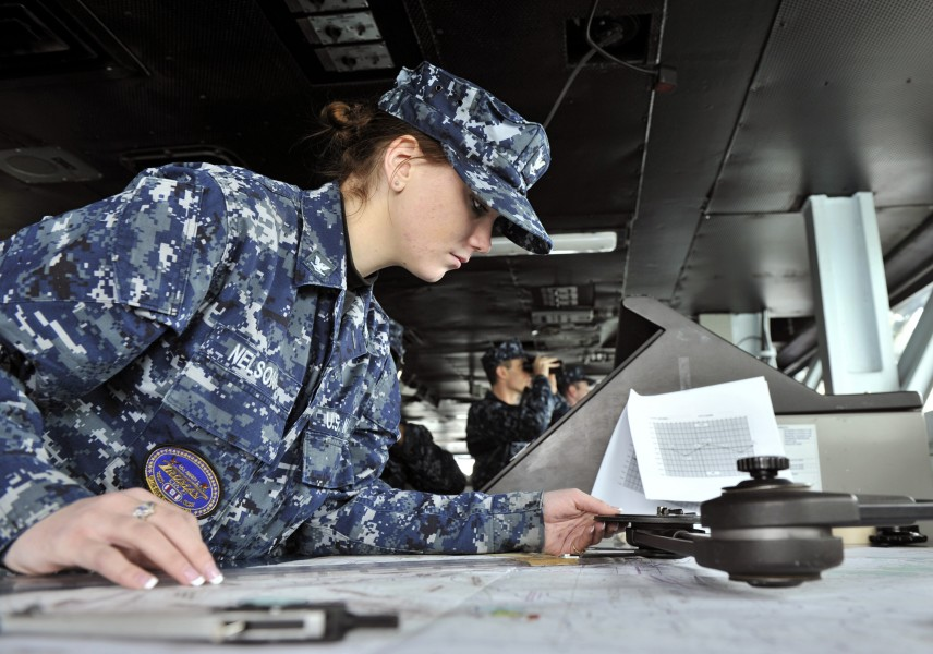 Defense.gov News Photo 110127-N-6003P-027 - Petty Officer 3rd Class Sarah Nelson uses a parallel motion protractor to plot the position of the aircraft carrier USS Harry S. Truman CVN 75 as