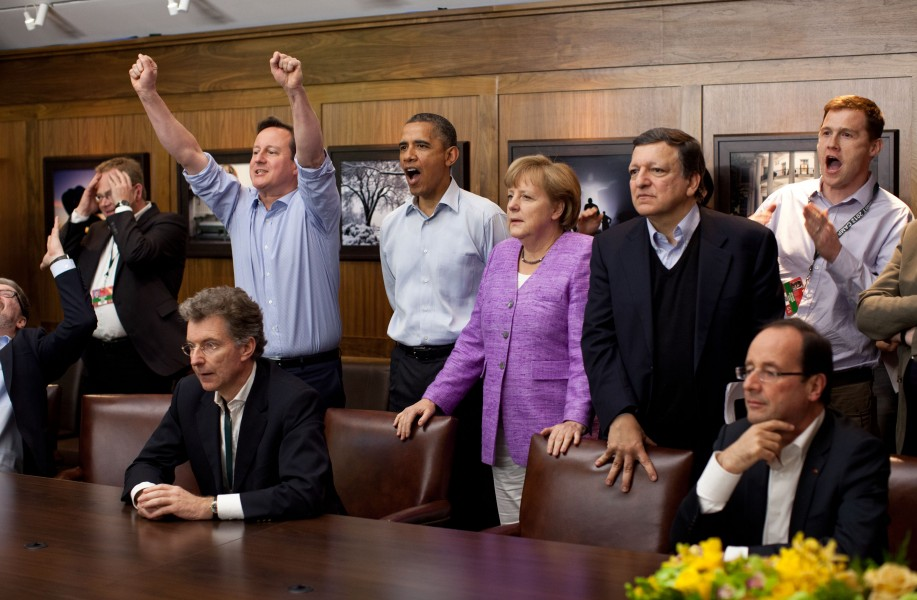 G8 leaders watching football