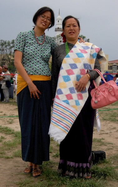 Lohorung women in traditional costume, Tudhikhel Nepal