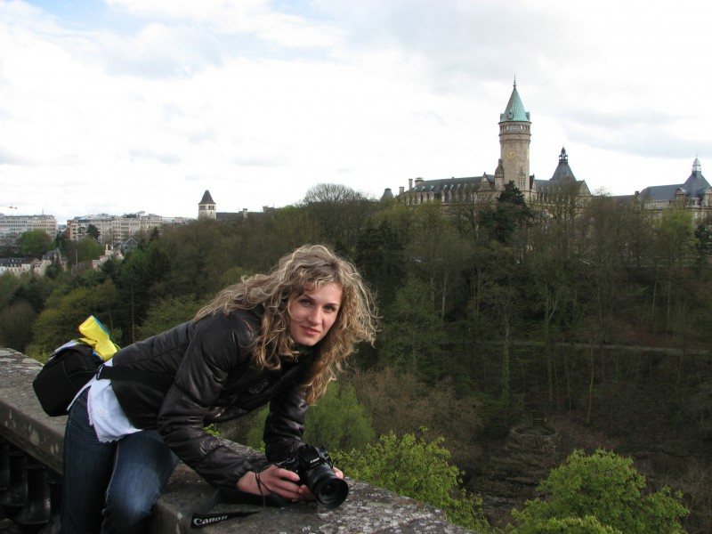 A girl with a Canon camera visiting Luxembourg