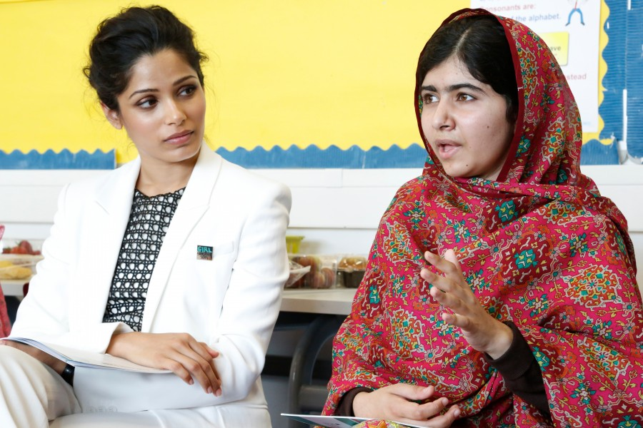 Malala and Freida Pinto meet the Youth For Change panel