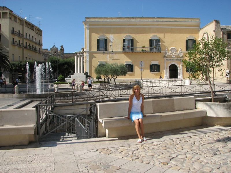 A young woman in Matera town, southern Italy, European Union, summer 2011, picture 1