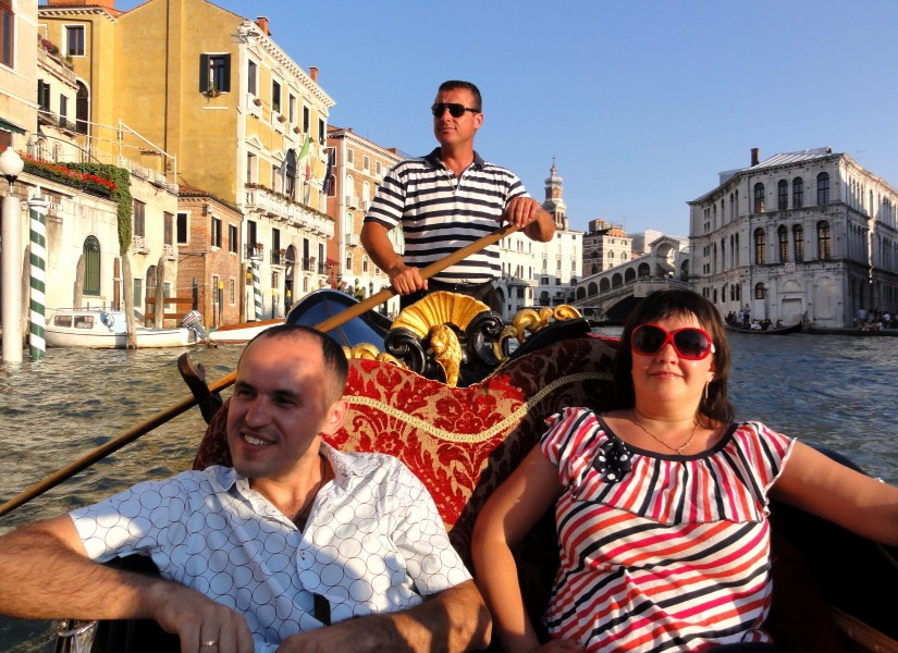 people in a gondola in Venice, Italy, European Union, picture 7