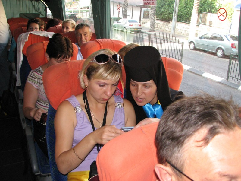 Christian pilgrims in a bus in Israel