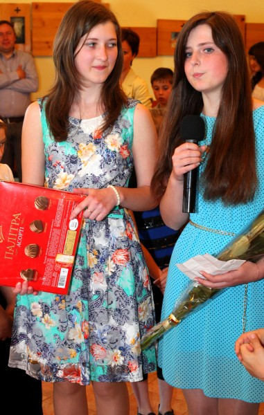 two Catholic girls in a church in May 2013