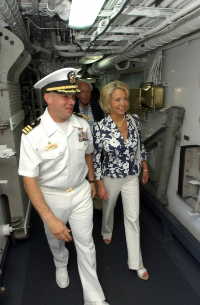 US Navy 080704-N-8943B-017 Cmdr. Edwin Kaiser, commanding officer of the guided-missile frigate USS Simpson (FFG 56) gives U.S. Ambassador to the Eastern Caribbean Mary Ourisman, a tour