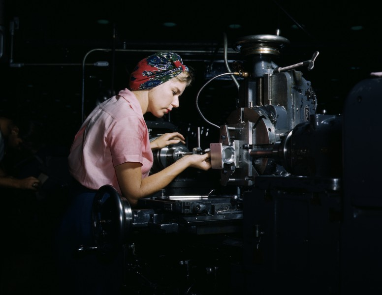 Women become skilled shop technicians after careful training in the school at the Douglas Aircraft Company plant, Long Beach, Calif