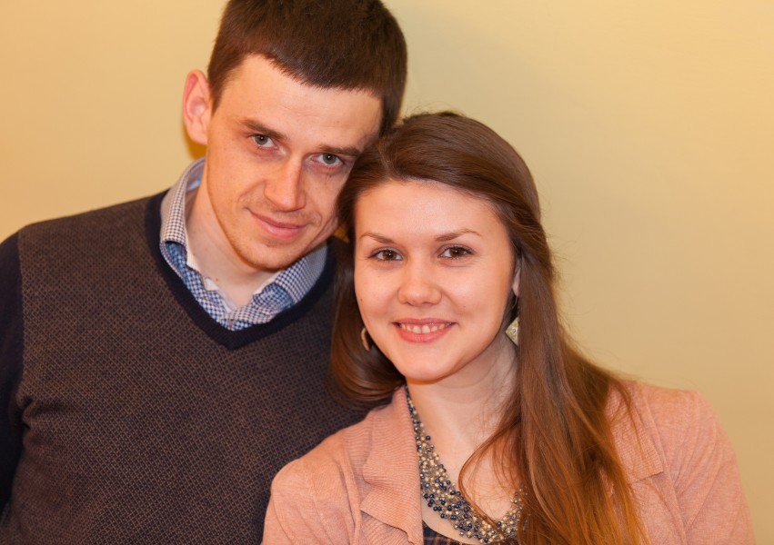 young Catholic husband and wife photographed in March 2014