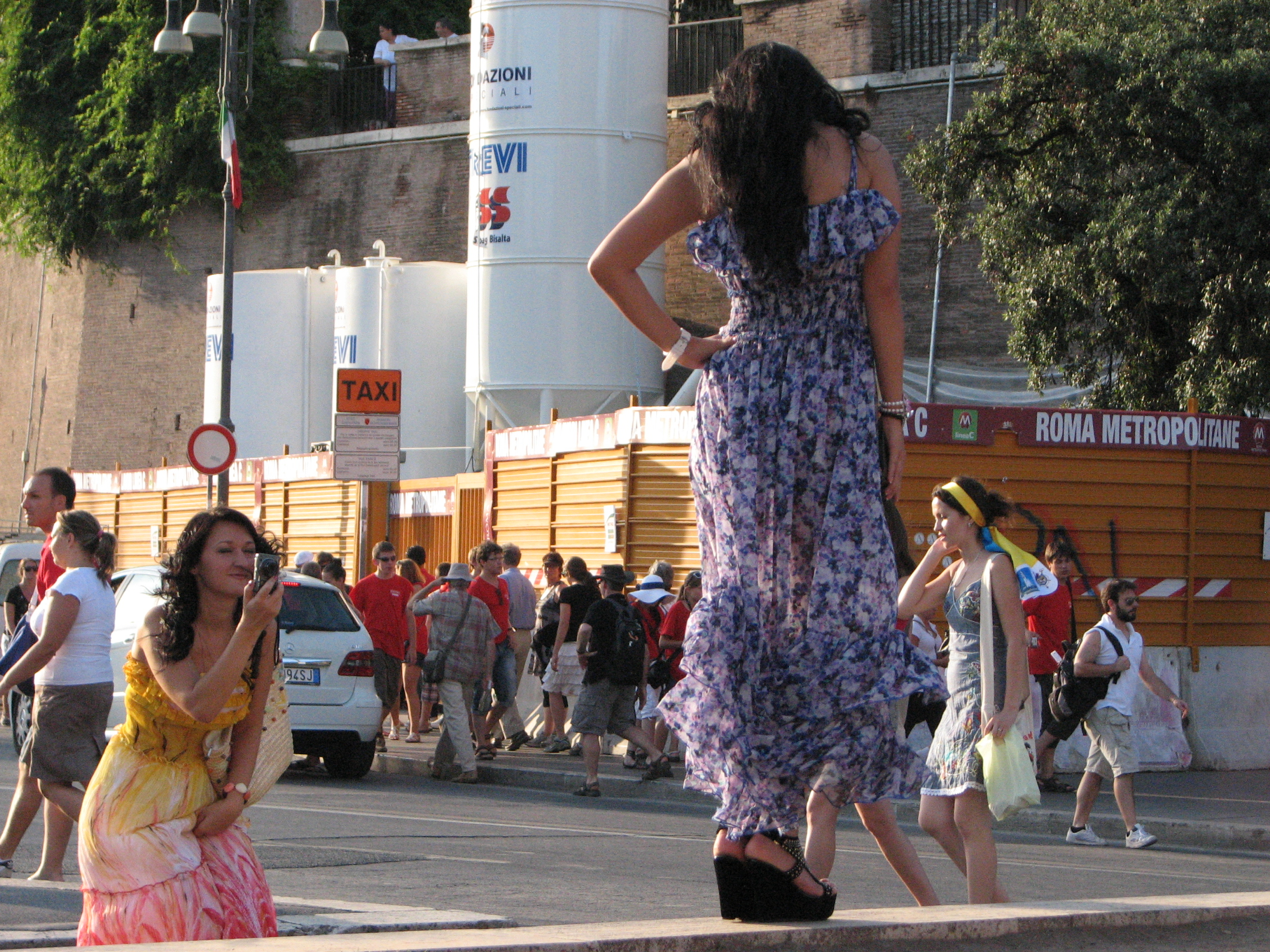 Young women being photoed in Rome, Italy, European Union, August 2011, picture 41.