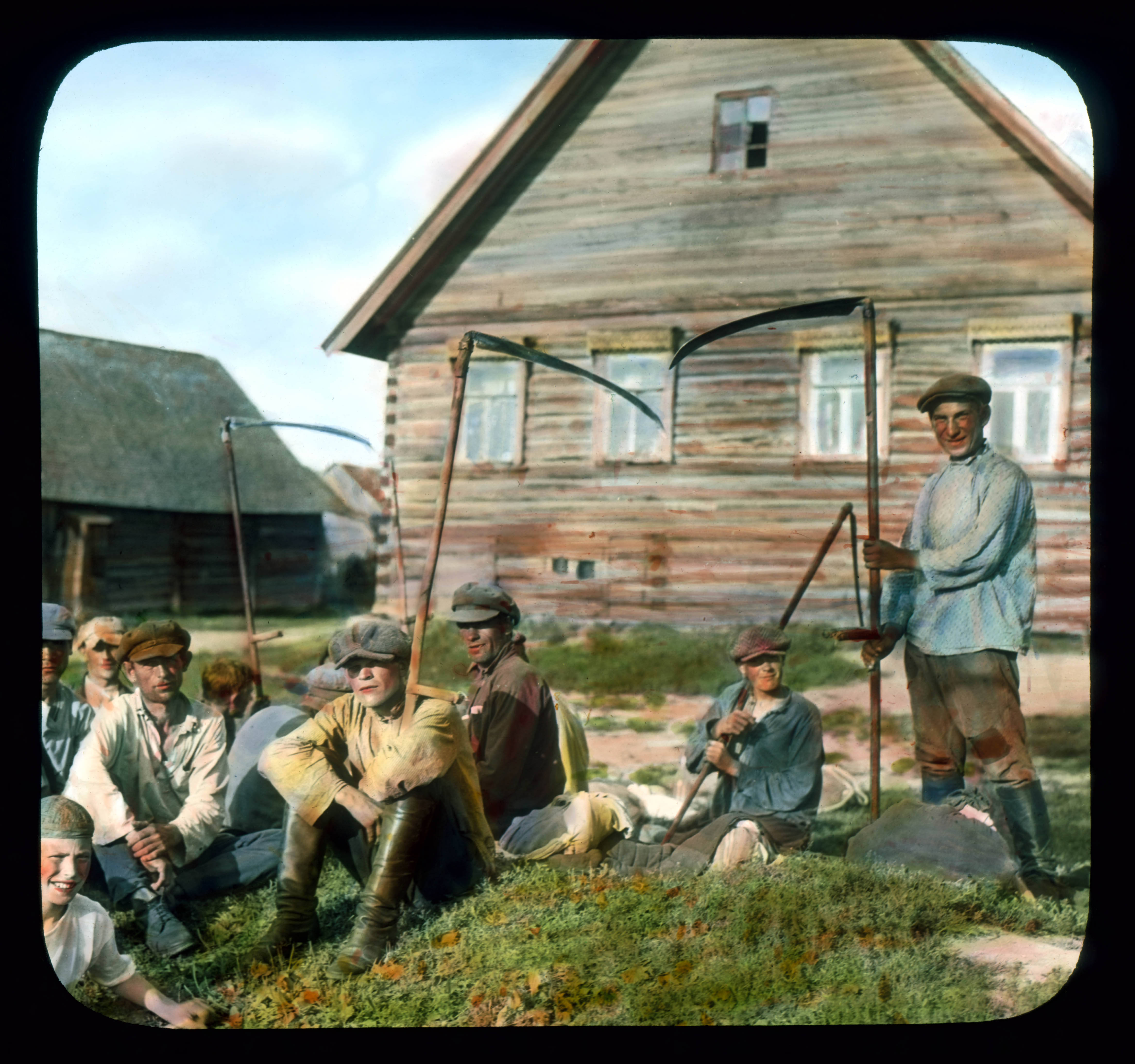 Saint Petersburg farmers in front of a house, near Leningrad