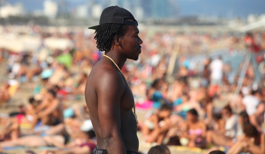 a young man at a beach in Barcelona, Catalonia, Spain, Europe, August 2013, picture 76