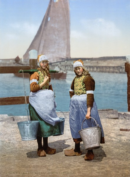 Girls from the isle of Marken in traditional costume around 1900