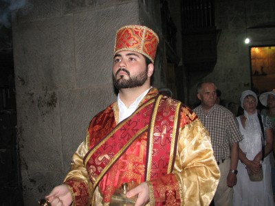 A person in Jerusalem in the Church where Jesus resurrected, Israel, 2011