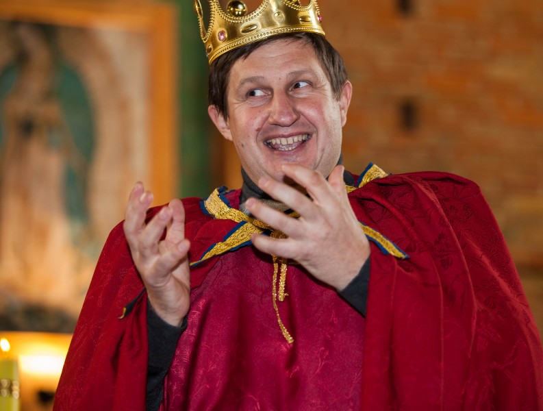 a man playing the role of king Herod in a church in December 2013, picture 2/3