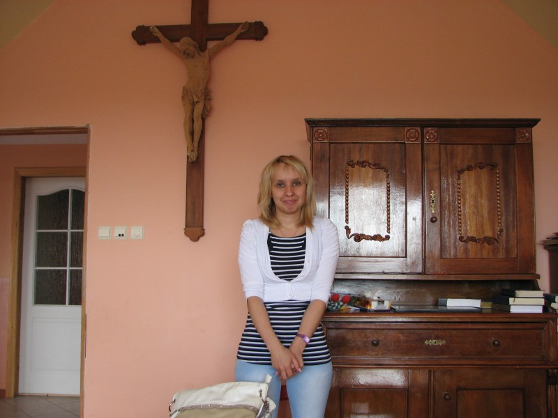 A Catholic married woman in a Church's room