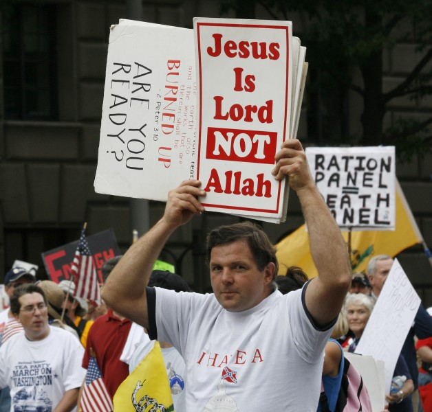 Christian protester - Tea Party march