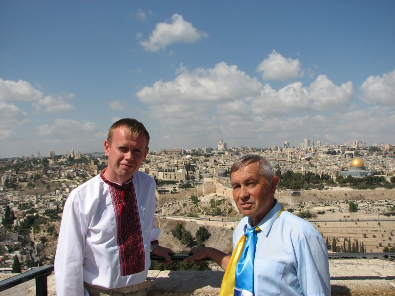 Christian pilgrim men in Jerusalem, Israel, 2011, photo 36