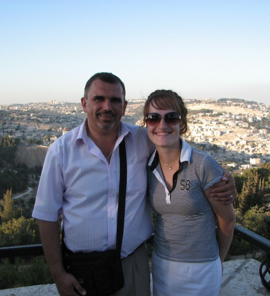 Christian pilgrims - a man and a girl - in Jerusalem, Israel, 2011, photo 2