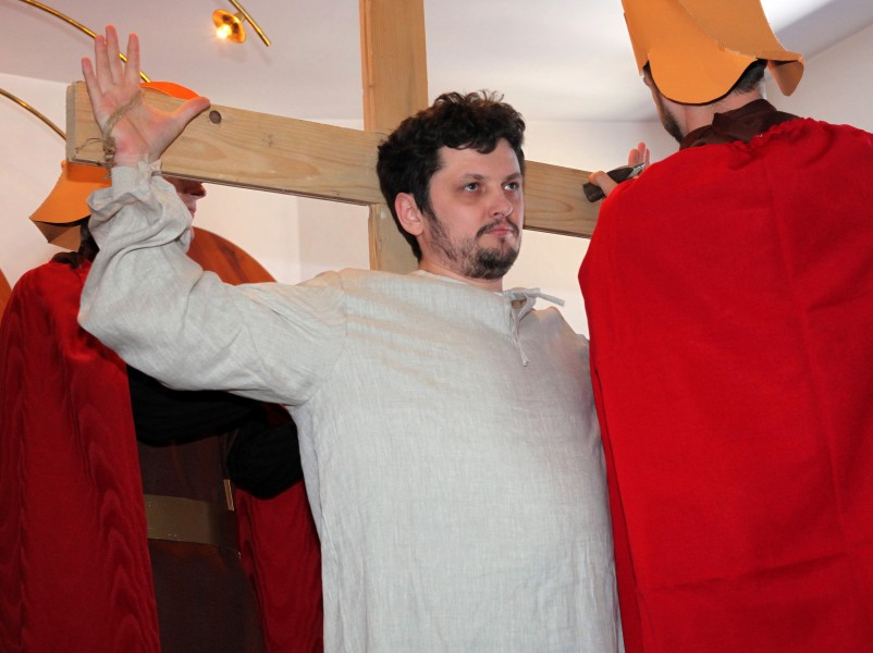 Jesus being crucified in the Passion of the Christ performance, photo 1