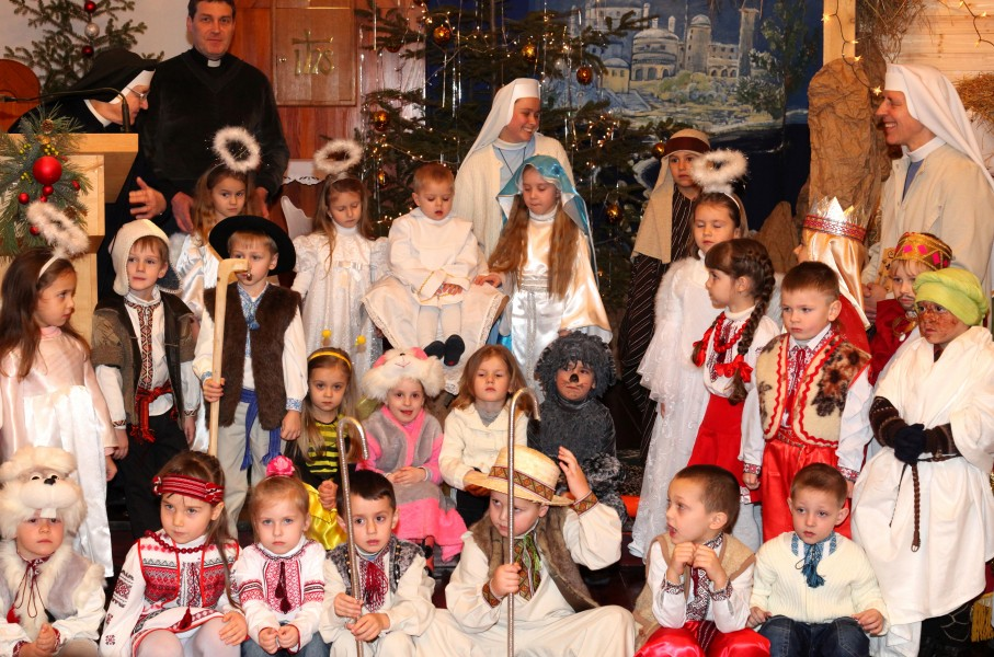 participants of the Nativity performance in a Catholic kindergarten