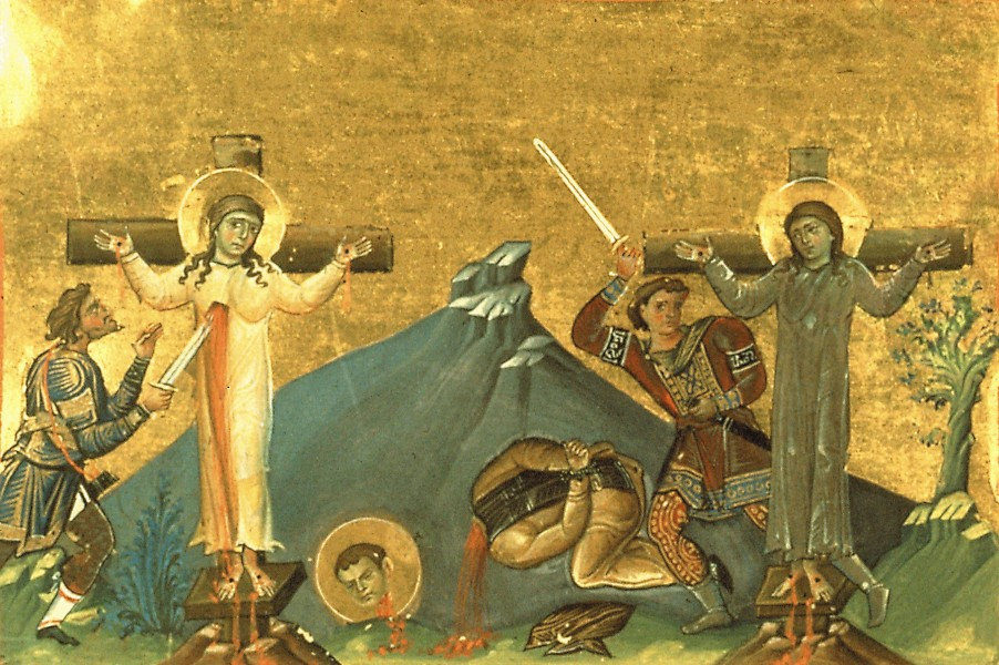 Martha and Mary, and their brother Lycarion, in Egypt (Menologion of Basil II)
