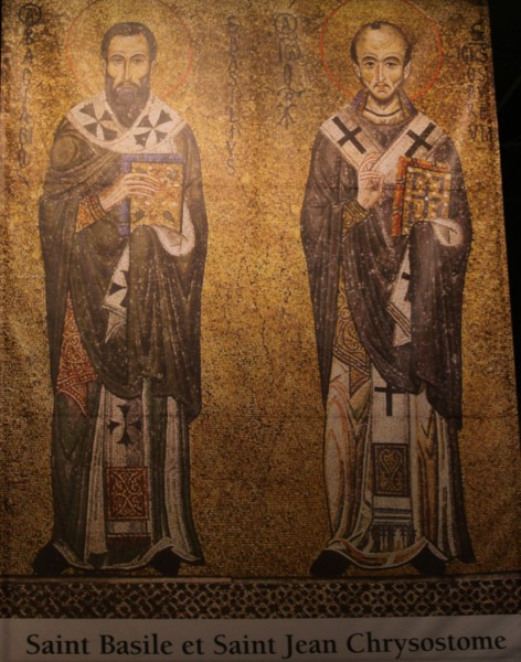 saint Basil and saint John Chrysostom (saint Basile and saint Jean Chrysostome). All Christians in heaven are considered to be saints.