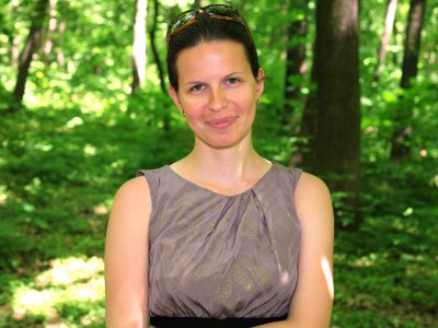a beautiful brunette Catholic woman in a forest in May 2013, portrait 4/4