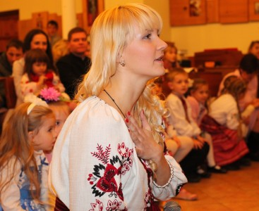 an amazingly tender and charming beautiful young blond Catholic woman in a Church, photo 7