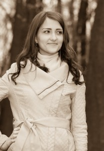 a brunette Catholic amazingly beautiful woman photographed in April 2014, black and white sepia tone, picture 4/15