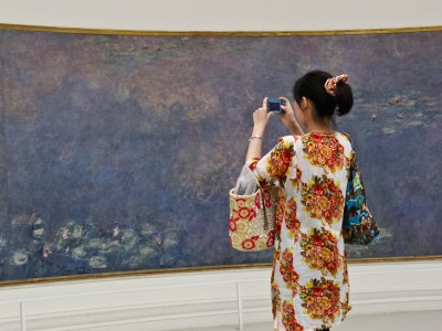 Woman photographs a Monet water lily mural in a Paris gallery.
