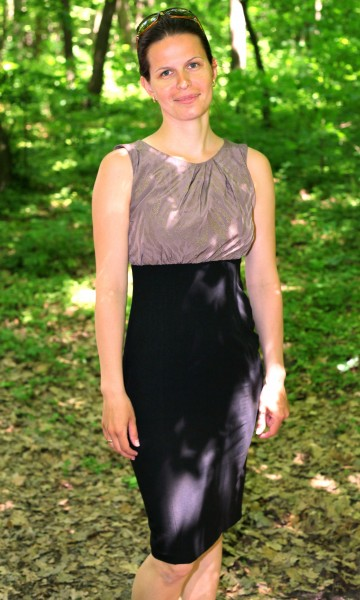 a beautiful brunette Catholic woman in a forest in May 2013, portrait 1/4