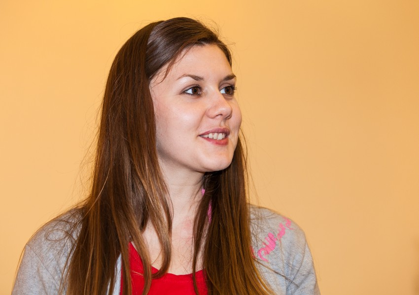 a brunette Catholic young cute woman photographed in April 2014, picture 13/13