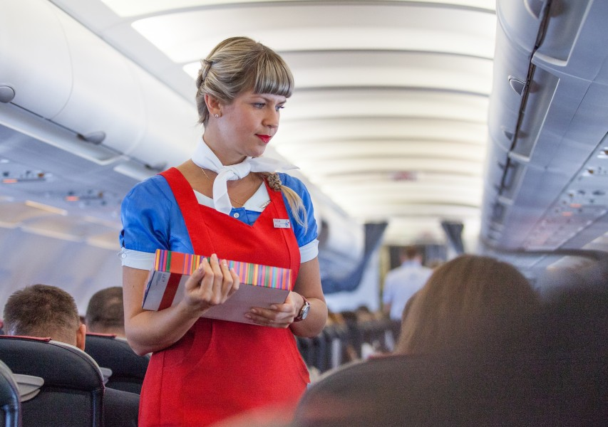 a cute stewardess photographed in August 2014, photo 1/2