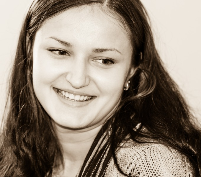 an amazingly beautiful young Catholic woman photographed in November 2014, picture 16, black and white