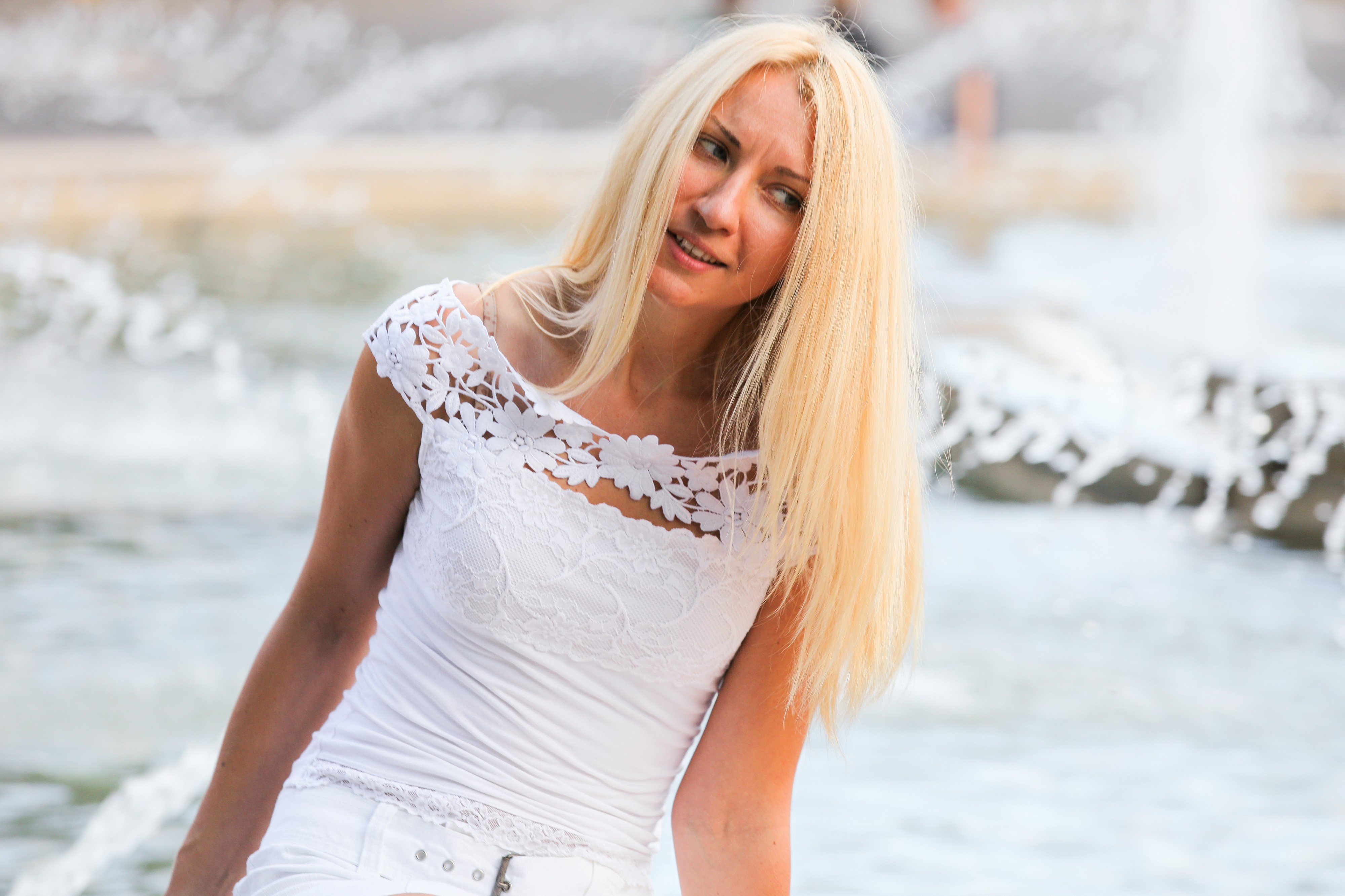 a blond young pretty woman photographed in August 2013