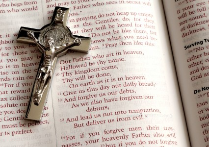 Lord's Prayer and a crucifix